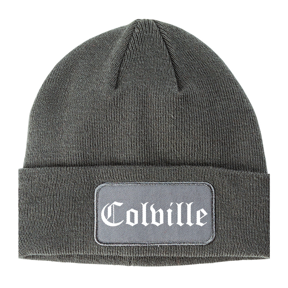 Colville Washington WA Old English Mens Knit Beanie Hat Cap Grey