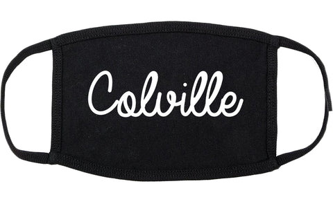 Colville Washington WA Script Cotton Face Mask Black