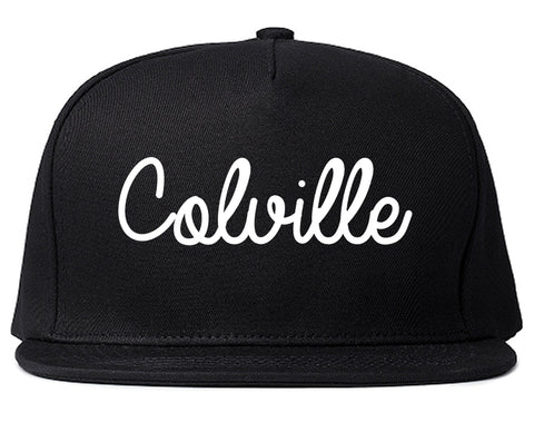 Colville Washington WA Script Mens Snapback Hat Black