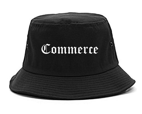 Commerce California CA Old English Mens Bucket Hat Black