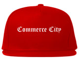 Commerce City Colorado CO Old English Mens Snapback Hat Red
