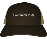 Commerce City Colorado CO Old English Mens Trucker Hat Cap Brown