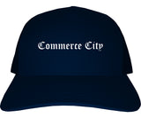 Commerce City Colorado CO Old English Mens Trucker Hat Cap Navy Blue