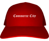 Commerce City Colorado CO Old English Mens Trucker Hat Cap Red