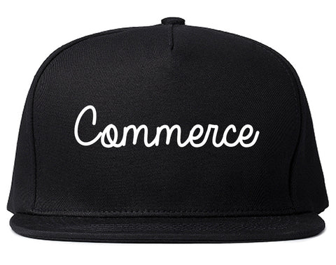 Commerce Georgia GA Script Mens Snapback Hat Black