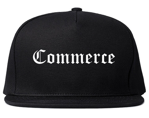 Commerce Texas TX Old English Mens Snapback Hat Black
