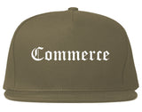 Commerce Texas TX Old English Mens Snapback Hat Grey