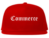 Commerce Texas TX Old English Mens Snapback Hat Red