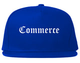 Commerce Texas TX Old English Mens Snapback Hat Royal Blue