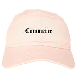 Commerce Texas TX Old English Mens Dad Hat Baseball Cap Pink
