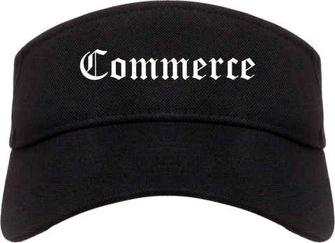 Commerce Texas TX Old English Mens Visor Cap Hat Black
