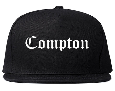 Compton California CA Old English Mens Snapback Hat Black