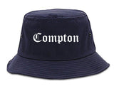 Compton California CA Old English Mens Bucket Hat Navy Blue