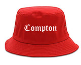 Compton California CA Old English Mens Bucket Hat Red