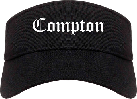 Compton California CA Old English Mens Visor Cap Hat Black