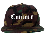 Concord North Carolina NC Old English Mens Snapback Hat Army Camo