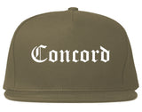 Concord North Carolina NC Old English Mens Snapback Hat Grey