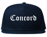 Concord North Carolina NC Old English Mens Snapback Hat Navy Blue