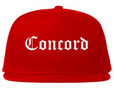 Concord North Carolina NC Old English Mens Snapback Hat Red