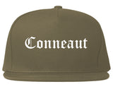 Conneaut Ohio OH Old English Mens Snapback Hat Grey