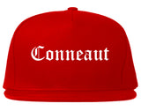 Conneaut Ohio OH Old English Mens Snapback Hat Red