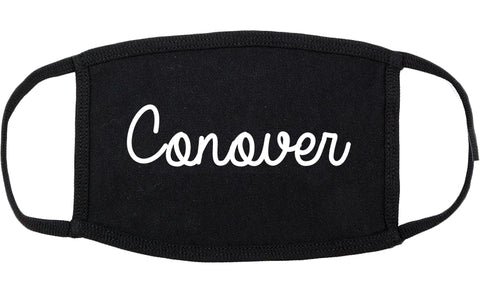 Conover North Carolina NC Script Cotton Face Mask Black