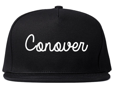Conover North Carolina NC Script Mens Snapback Hat Black