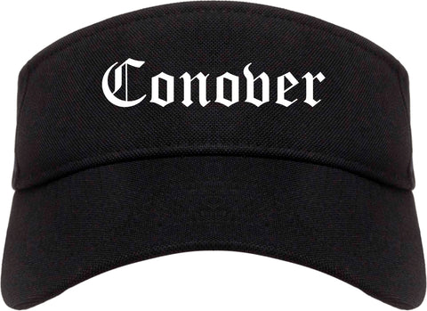 Conover North Carolina NC Old English Mens Visor Cap Hat Black