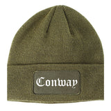 Conway South Carolina SC Old English Mens Knit Beanie Hat Cap Olive Green