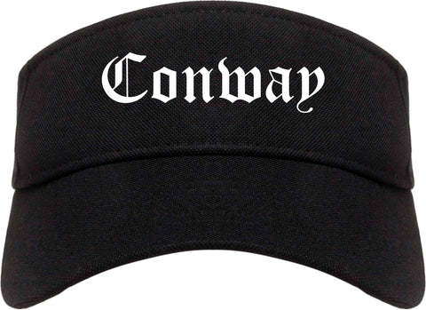 Conway South Carolina SC Old English Mens Visor Cap Hat Black