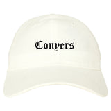 Conyers Georgia GA Old English Mens Dad Hat Baseball Cap White