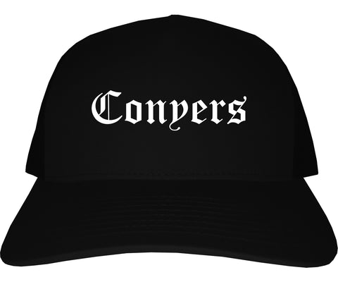Conyers Georgia GA Old English Mens Trucker Hat Cap Black