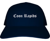 Coon Rapids Minnesota MN Old English Mens Trucker Hat Cap Navy Blue