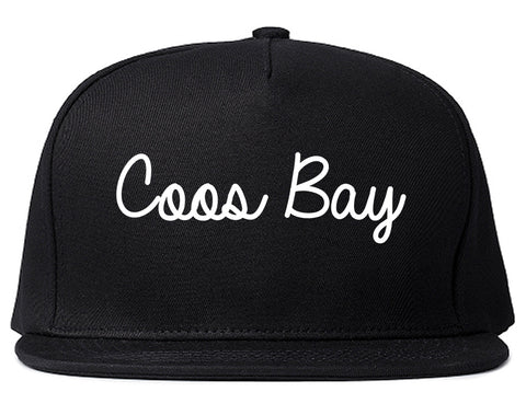 Coos Bay Oregon OR Script Mens Snapback Hat Black