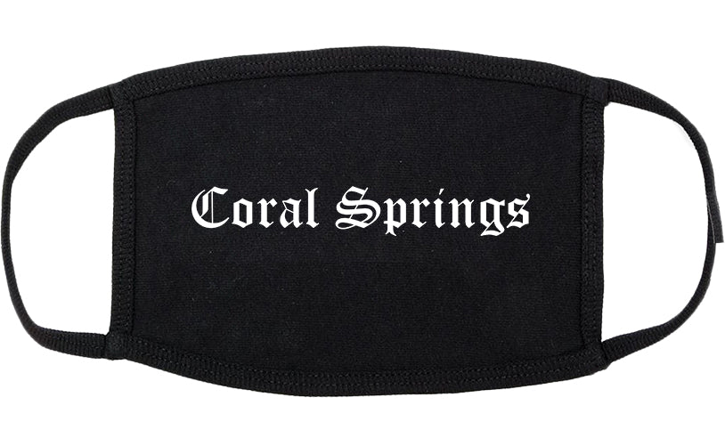 Coral Springs Florida FL Old English Cotton Face Mask Black