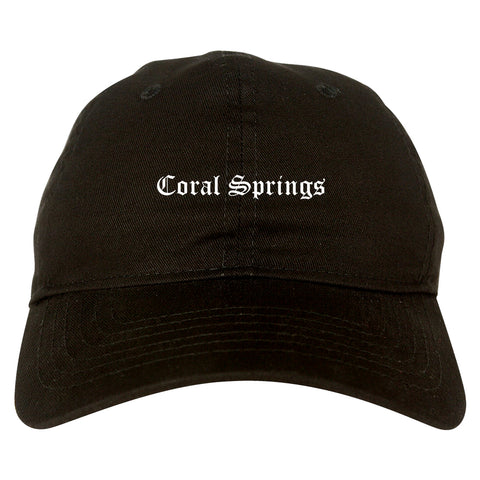 Coral Springs Florida FL Old English Mens Dad Hat Baseball Cap Black