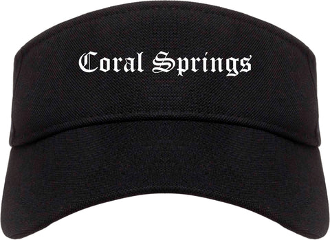 Coral Springs Florida FL Old English Mens Visor Cap Hat Black