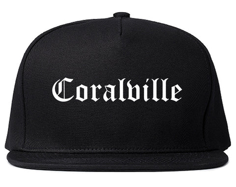 Coralville Iowa IA Old English Mens Snapback Hat Black