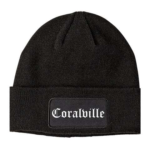 Coralville Iowa IA Old English Mens Knit Beanie Hat Cap Black