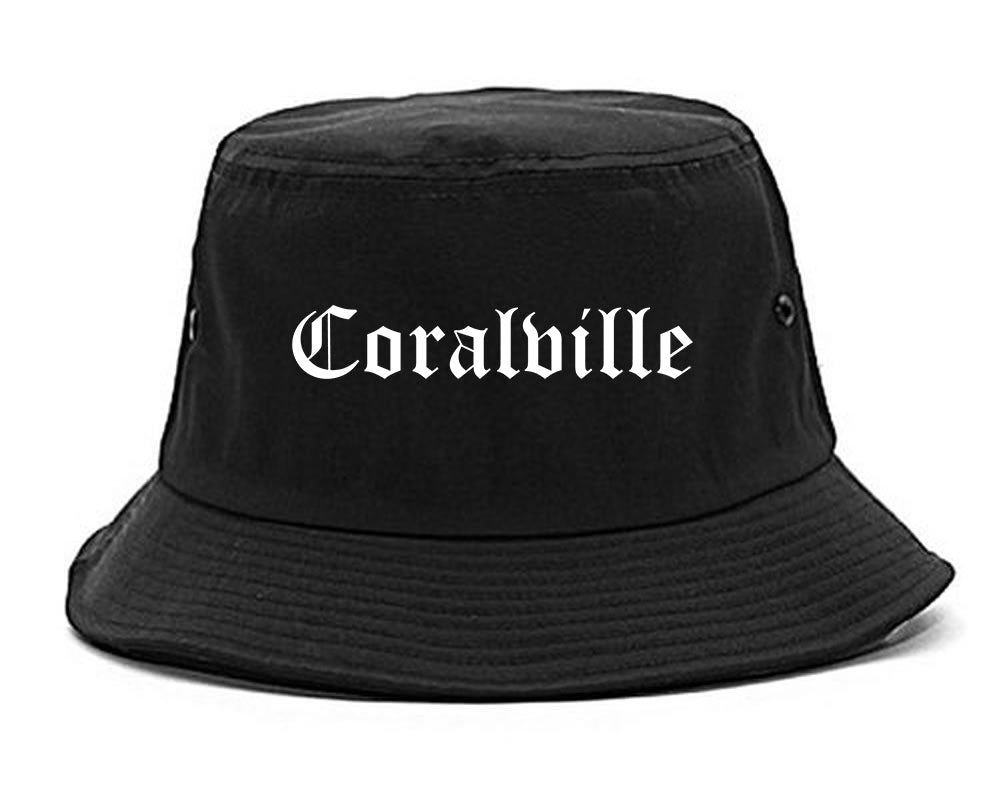Coralville Iowa IA Old English Mens Bucket Hat Black
