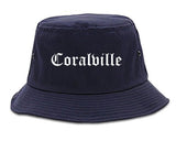 Coralville Iowa IA Old English Mens Bucket Hat Navy Blue