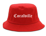 Coralville Iowa IA Old English Mens Bucket Hat Red