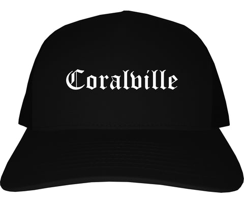 Coralville Iowa IA Old English Mens Trucker Hat Cap Black