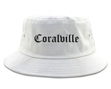 Coralville Iowa IA Old English Mens Bucket Hat White