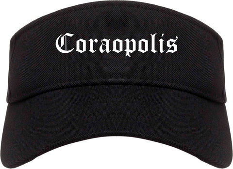 Coraopolis Pennsylvania PA Old English Mens Visor Cap Hat Black