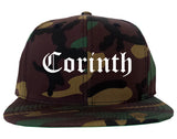 Corinth Mississippi MS Old English Mens Snapback Hat Army Camo