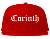 Corinth Mississippi MS Old English Mens Snapback Hat Red