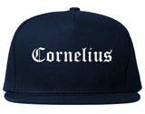 Cornelius North Carolina NC Old English Mens Snapback Hat Navy Blue
