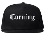 Corning California CA Old English Mens Snapback Hat Black