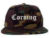 Corning California CA Old English Mens Snapback Hat Army Camo